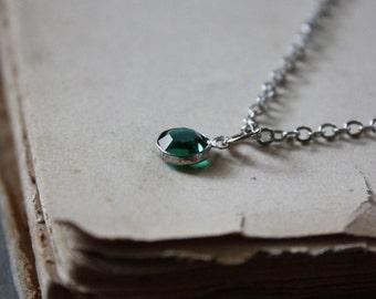 Emerald Drop Necklace - Green Crystal Necklace