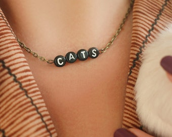 NEW gold black CATS chain necklace - gift idea: have one personalised HALLOWEEN