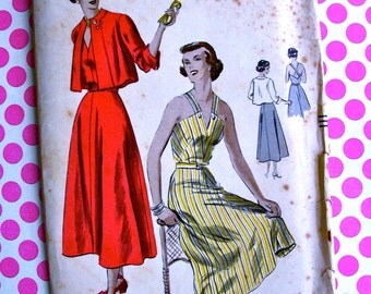 "RARE *  1940's Vogue Pattern 6649 -  Amazing  Sun Dress & Bolero - ""easy to make"" - Criss-cross Back Neckline - Size 16 * Bust 34"
