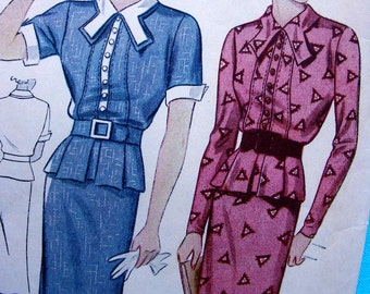 1930's Simplicity  Pattern 2116  - STUNNING  Misses' Two Piece Dress with Box Pleated Peplum * Size 16 * Bust 34