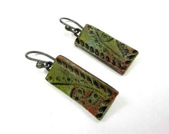 Fern Green Panel Earrings - Rustic Artisan Ceramic Earrings No. 286