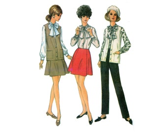 1960s Pants, Skirt and Blouse Pattern Tie Collar Blouse, Long Vest, A Line Skirt, Pencil Pants McCalls 9319 Bust 32 Vintage Sewing Pattern