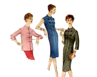 1950s Dress or Tunic Pattern Fitted Chemise Asian Style Mandarin Collar Sleeveless Easy Sew Dress Vogue 9633 Bust 32 Vintage Sewing Pattern