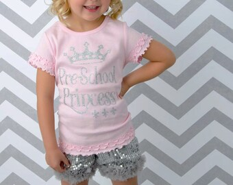 Pre-school Princess Shirt, Girls Gold Sparkle Shirt, Silver Sparkle Shirt, Preschool Rocks Shirt, Kindergarten Princess, Kindergarten Shirt