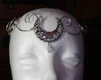 crescent moon wire circlet, forehead tiara crown, alternative wedding headpiece, moon maiden