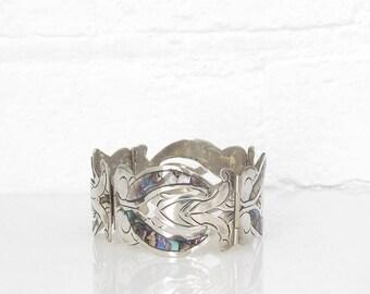 Vintage Taxco Bracelet Mexican Sterling Silver Abalone Bracelet Shell 1950s Nouveau Bracelet