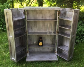 Silver Metallic Liquor Cabinet