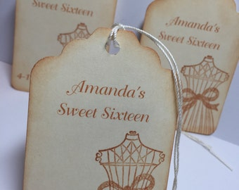 Sweet Sixteen Thank You Tags Favor Tags Vintage Dress with Bow Set of 10 ..Large Tags..Personalized