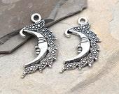 Silver Moon Charm, 15pcs, Moon Pendant, Bracelet Charms, Silver Charms - C268