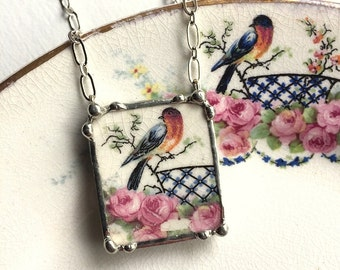 Broken china jewelry necklace pendant sweet robin bird with pink roses vintage broken china