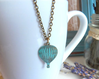 SALE - Fly Away With Me - Necklace, Vintage Inspired, Hot Air Balloon Pendant, Hand-Painted Turquoise Blue Patina Jewelry