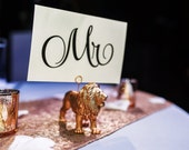 Mr & Mrs Table Sign Holders Wedding Card Holders Gold Animals Gold Sweetheart Table Number Holder Decorations Seating Decor Signs Seating