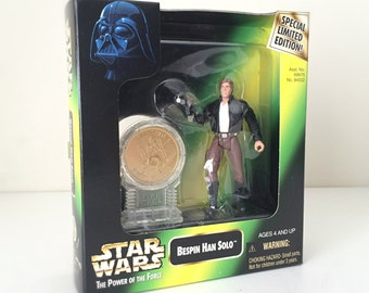 Vintage Star Wars Figure Han Solo with Collectible Coin and Display Stand - 90s Star Wars Action Figure, Limited Edition Kids Toy