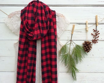 Buffalo Plaid Scarf, Long Scarf, Red and Black Plaid Scarf, Flannel Scarf, Womens Scarf, Winter Scarf, Lumberjack Scarf, Gift Idea