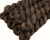 Mini Skeins - Hand Dyed Yarn - Sock Weight 4 Ply Superwash Merino Wool Yarn - Bark Tonal - Knitting Yarn, Sock Yarn, Fingering Yarn, Brown