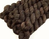 Mini Skeins - Hand Dyed Yarn - Sock Weight 4-Ply Superwash Merino Wool Yarn - Bark Tonal - Knitting Yarn, Sock Yarn, Fingering Yarn, Brown