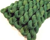 Sock Yarn Mini Skeins, Hand Dyed Yarn, Sock Weight 4 Ply Superwash Merino Wool Yarn - Laurel - Green Tonal Knitting Yarn, Fingering Weight