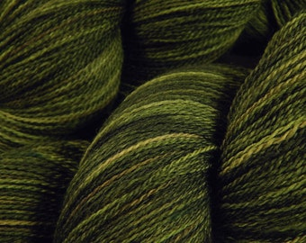 Hand Dyed Lace Yarn - Lace Weight Superwash Merino Wool Yarn - Moss Tonal - Knitting Yarn, Tonal Yarn, Laceweight Olive Green, Gift For Her