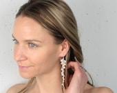 Long Pearl and Rhinestone Earrings, Bridal Wedding Earrings, Statement Pearl Earrings, Long Cluster Earrings, Handmade Wedding Jewelry