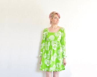 lime green mod micro mini dress . hawaiian neon dolly frock .small .sale