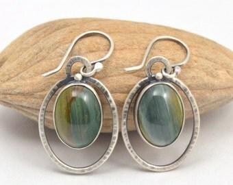 blue green brown petrified bogwood oval sterling silver earrings