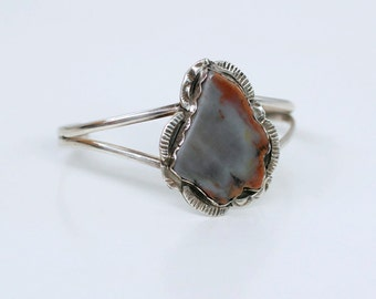 1970s petrified wood stone sterling cuff bracelet / 70s vintage silver and wood thin cuff