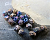 NEW METALLIC LAVA . Czech Faceted Glass Beads . 4 mm  (50 beads)