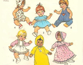"""Pattern 7208 for 15""""-16"""" Baby Doll Clothes - Envelope & Instructions Copied"""