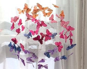 Butterfly Mobile, Hanging Art Mobile, Baby Girl Nursery, Art for Nursery