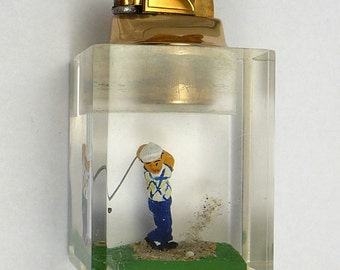 Vintage Golf Lighter Embedded Lucite Golfer Evans Clearfloat Table Lighter