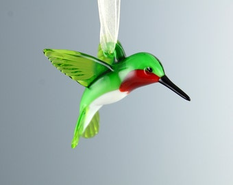Green Ruby-throated Art Glass Hummingbird Figurine Ornament