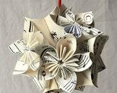 Sheet Music Ornament, Small Origami Ornament, Music Decor, Christmas Tree Ornament, Sheet Music Ball, Paper Flowers, Music Teacher Gift