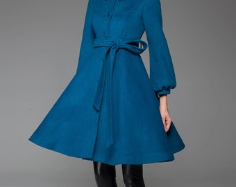 Turquoise Jacket, Blue coat, wool jacket, winter coat,swing coat, cashmere coat,shawl collar, womens outfits, dress coat, Coat dress (1425)