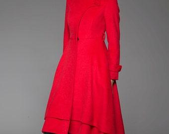 Long wool coat, womens coats, tailored coat, red coat, high collar, elegant coat, fitted coat, asymmetrical coat, dress coat, gift (1422)