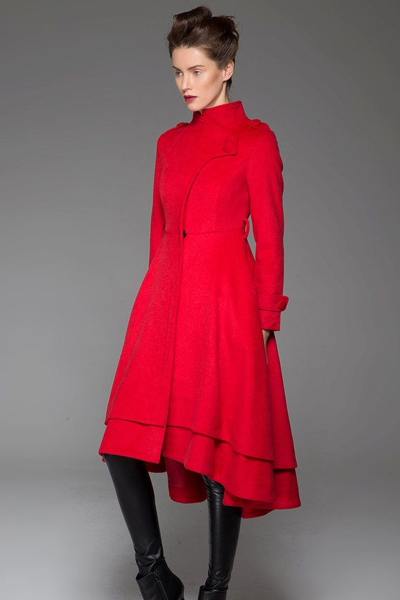 Long wool coat womens coats tailored coat red coat high