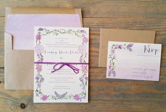 purple wedding invitation, floral wedding invitation, watercolor wedding invitation, floral wreath wedding invitation
