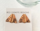 Vintage Studs | Red Brass Copper Earrings | Geometric Studs