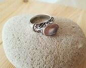 SUPER SALE...Gorgeous Rose Quartz Sterling Silver Art Nouveau Style Scrolled Ring. Size 7.5-8. Balinese Ring. Rose Quartz Ring 925