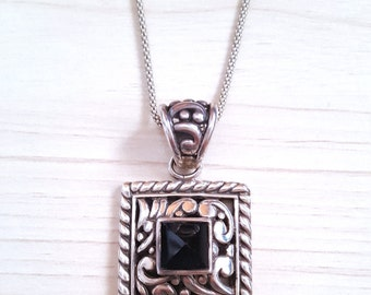 New Listing Sale ...GORGEOUS Sterling 925 Onyx Scrolled Pendant. Onyx Sterling Pendant. Onyx 925 Pendant Necklace