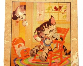 SALE Kittens And Puppies Large Vintage Book 1934