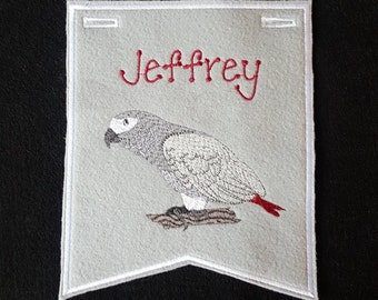 Bird-African Gray Parrot Cage Banner (PERSONALIZED)