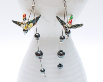 Origami earrings in handmade black and red paper with hematite beads
