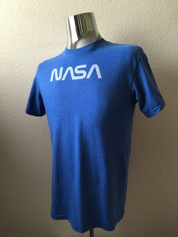 Vintage Men's 90's NASA T Shirt Blue White Short
