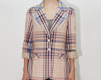 BOBBIE BROOKS 70's Calgary Plaid Checkered Blazer Jacket, Designer Vintage, size medium