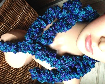 Ocean Colored Twirl Scarf