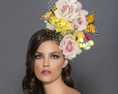Assorted Silk bouquet headband, Spring flower fascinator, Spring derby hat, kentucky derby hat, Melbourne cup hats, Preakness hats