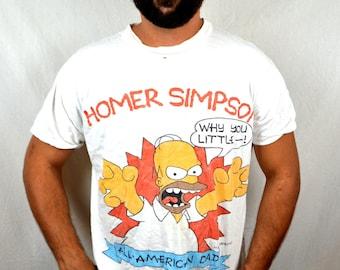 Vintage 1990 Homer Simpson Distressed Tee Shirt Tshirt - All-American Dad