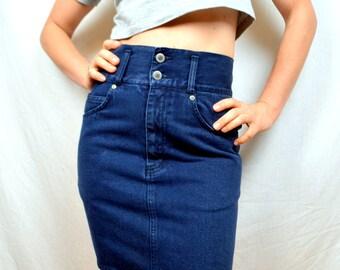 Vintage 80s High Waisted Denim Mini Skirt