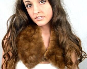 Vintage 60s Mink Real Animal Fur Collar