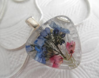 Sky Blue Forget-Me-Nots, Pink Heather Pressed Flower Small Triangle Glass Pendant-Nature's Art-Symbolizes True Love, Memories-Gifts Under 25